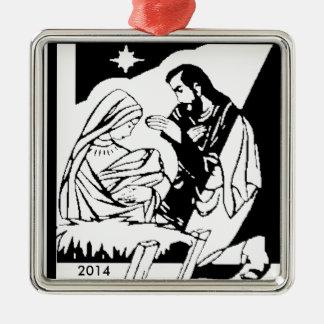 Black/White Holy Family Christmas Manger Scene Ornament