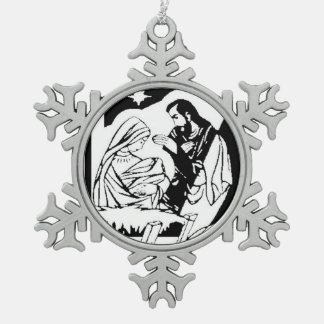 Black/White Holy Family Christmas Manger Scene Ornaments