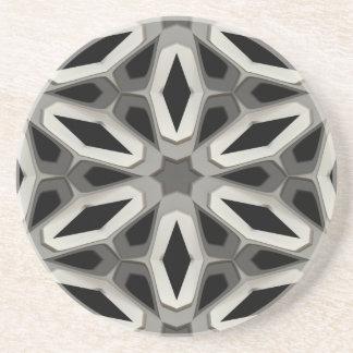Black & White Honeycomb Chambers Pattern Drink Coaster
