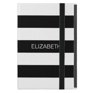 Black White Horiz Preppy Stripe #2 Name Monogram Case For iPad Mini