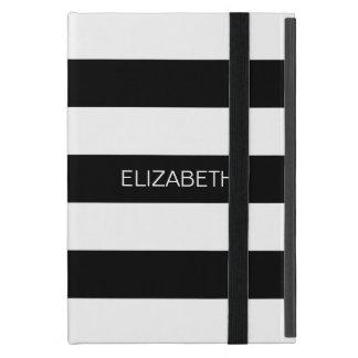 Black White Horiz Preppy Stripe #2 Name Monogram iPad Mini Cover