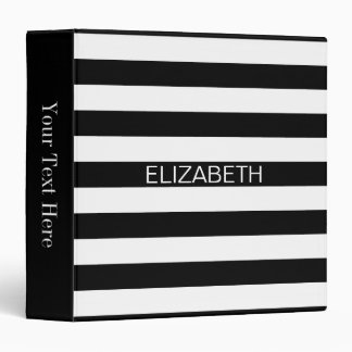 Black White Horizontal Preppy Stripe Name Monogram Binder