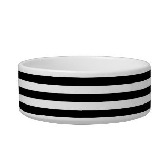 Black White Horizontal Preppy Stripe Name Monogram Bowl