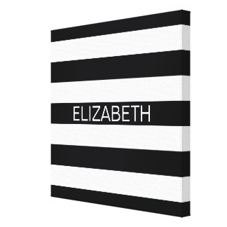 Black White Horizontal Preppy Stripe Name Monogram Canvas Print