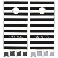 Black White Horizontal Preppy Stripe Name Monogram Cornhole Set