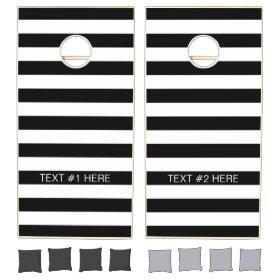Black White Horizontal Preppy Stripe Name Monogram Cornhole Sets