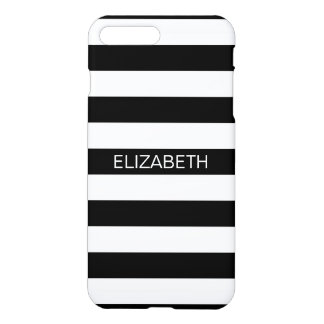 Black White Horizontal Preppy Stripe Name Monogram iPhone 7 Plus Case