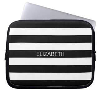 Black White Horizontal Preppy Stripe Name Monogram Laptop Sleeve