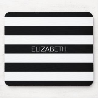 Black White Horizontal Preppy Stripe Name Monogram Mouse Pad