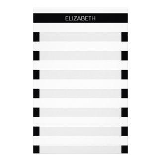 Black White Horizontal Preppy Stripe Name Monogram Stationery