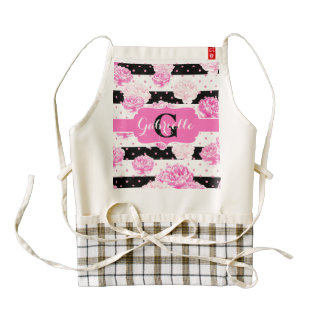 Black & White Horizontal Stripes Floral Monogram Zazzle HEART Apron