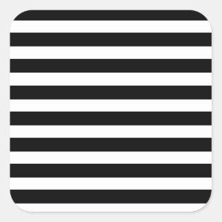 Black White Horizontal Stripes Zebra Pattern Retro Square Sticker