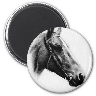 Black & White Horse 2 Inch Round Magnet