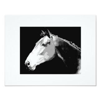 Black & White Horse 4.25x5.5 Paper Invitation Card