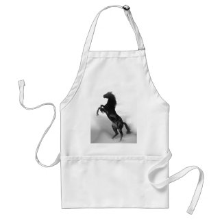 Black White Horse Adult Apron