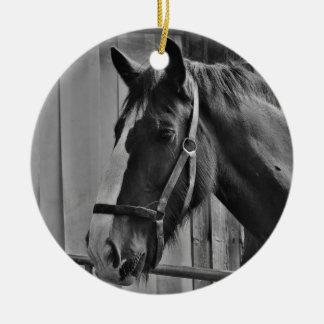 Black White Horse - Animal Photography Art Ceramic Ornament