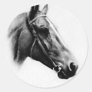 Black & White Horse Classic Round Sticker