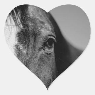 Black White Horse Eye Artwork Heart Sticker
