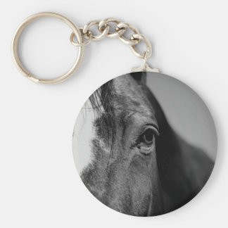 Black White Horse Eye Artwork Keychain