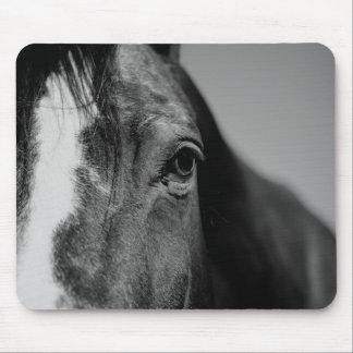 Black White Horse Eye Artwork Mouse Pad