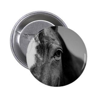 Black White Horse Eye Artwork Pinback Button