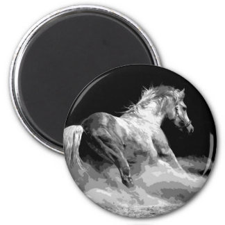 Black & White Horse in Action 2 Inch Round Magnet