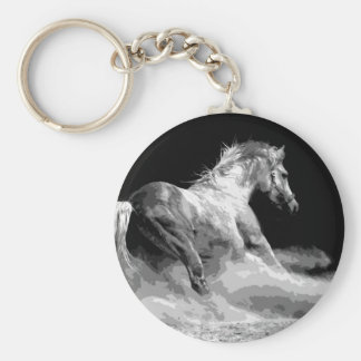 Black & White Horse in Action Keychain