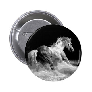Black & White Horse in Action Pinback Button