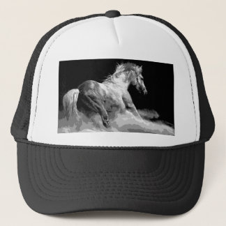 Black & White Horse in Action Trucker Hat