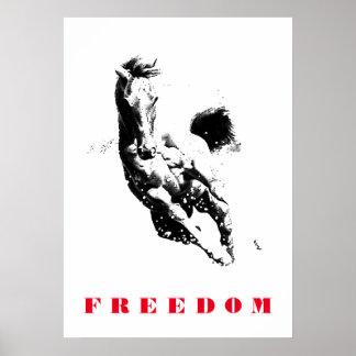 Black White Horse Motivational Freedom Pop Art Poster