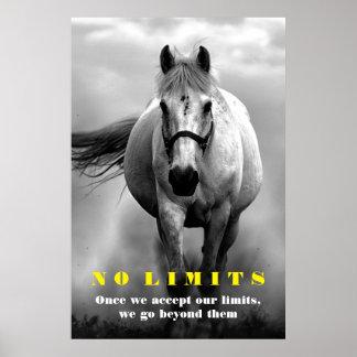 Black White Horse Motivational No Limits Artwork Poster