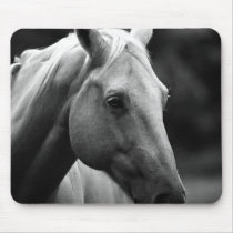 Black White Horse Mouse Pad