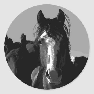 Black & White Horse Portrait Stickers