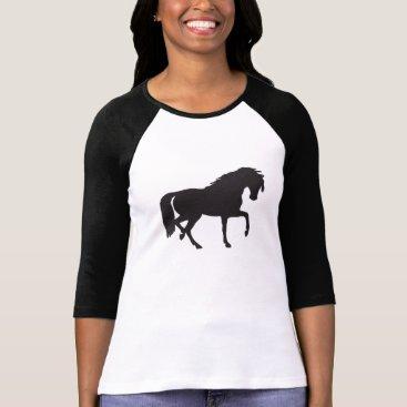 MaggieMart Black & White Horse Silhouette T-Shirt