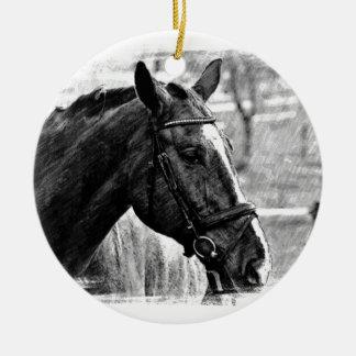 Black White Horse Sketch Ceramic Ornament