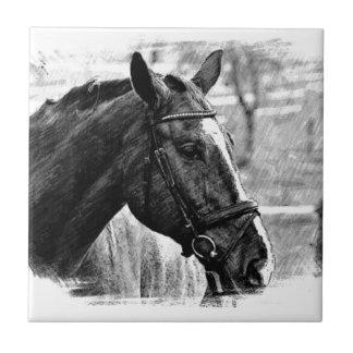 Black White Horse Sketch Ceramic Tile