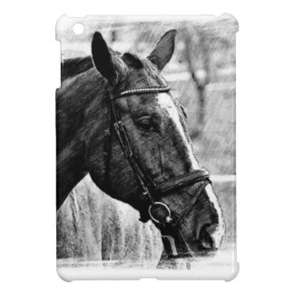 Black White Horse Sketch iPad Mini Covers