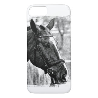 Black & White Horse Sketch iPhone 8/7 Case