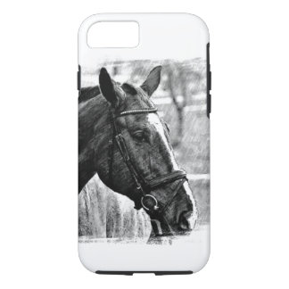 Black White Horse Sketch iPhone 8/7 Case