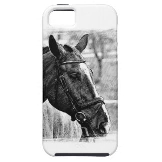 Black White Horse Sketch iPhone SE/5/5s Case