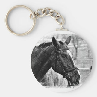 Black White Horse Sketch Keychain