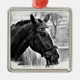 Black White Horse Sketch Metal Ornament