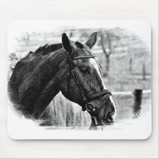 Black White Horse Sketch Mouse Pad