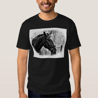 Black White Horse Sketch T Shirt