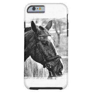 Black White Horse Sketch Tough iPhone 6 Case