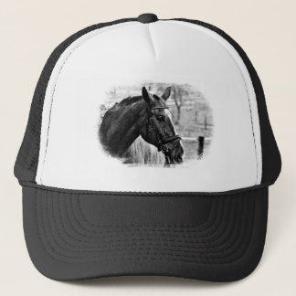 Black White Horse Sketch Trucker Hat