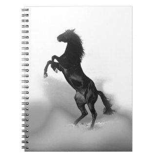 Black White Horse Spiral Notebook