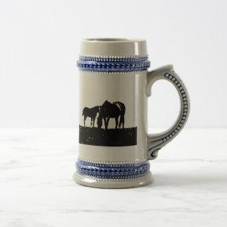 Black & White Horses Silhouette Beer Stein
