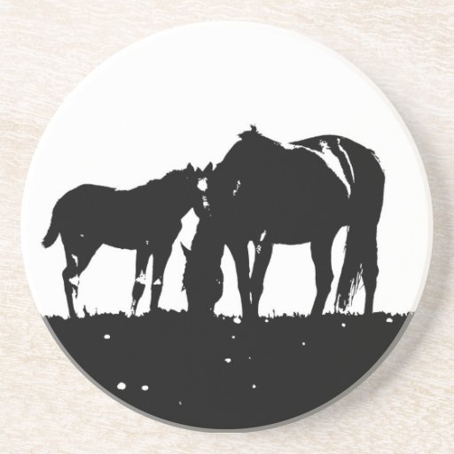 Black & White Horses Silhouette Drink Coaster