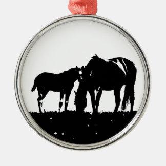 Black & White Horses Silhouette Metal Ornament